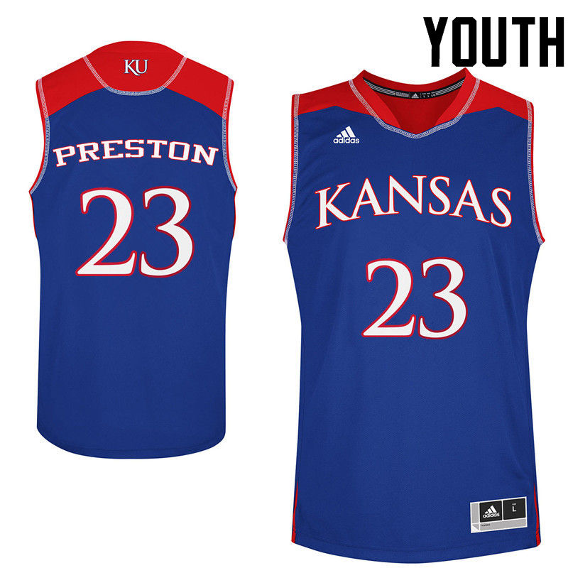 Youth Kansas Jayhawks #23 Billy Preston College Basketball Jerseys-Royals